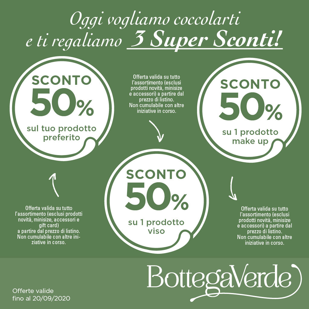 Bottega Verde: 3 Super Sconti