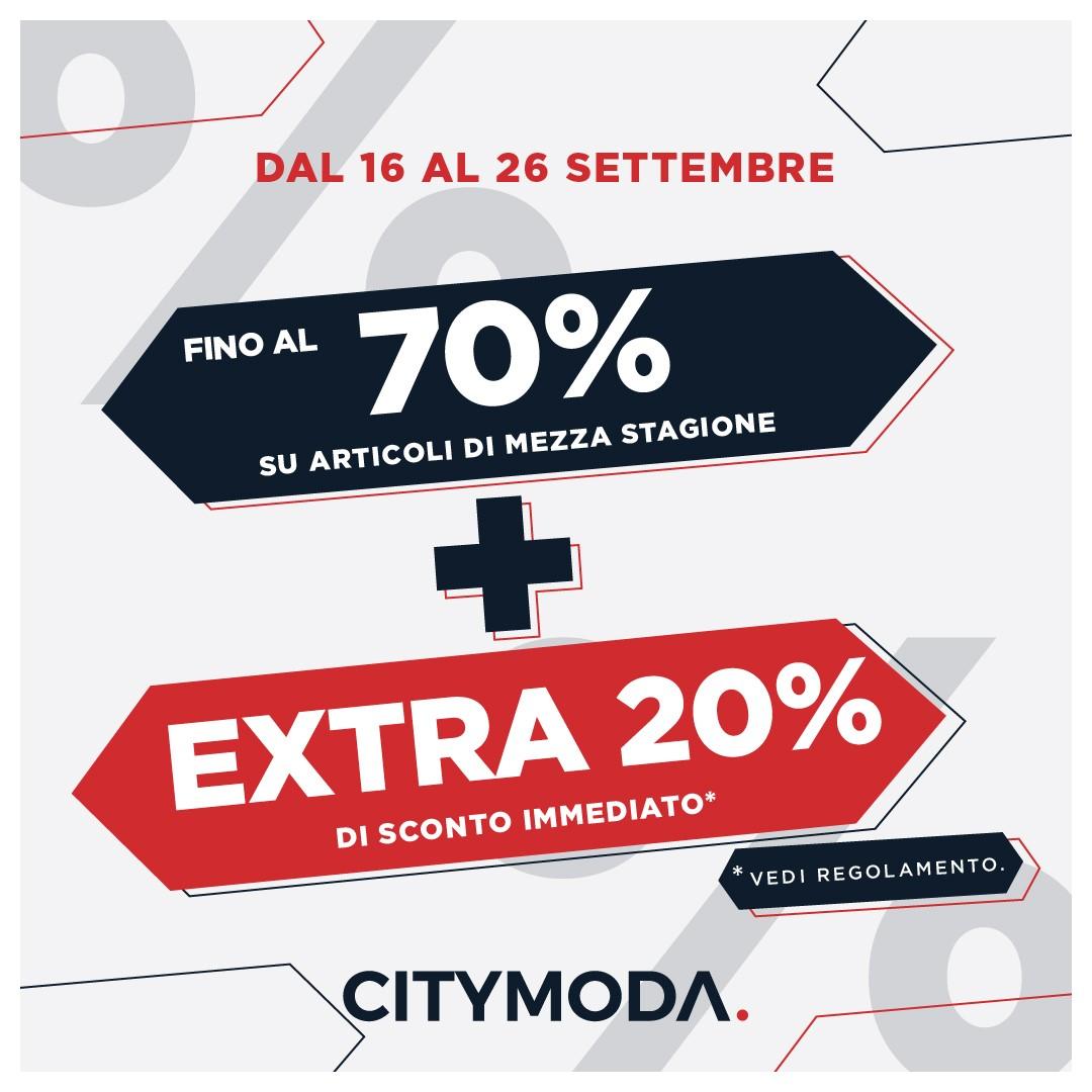 City moda: tutto al 70% + extra 20% immediato